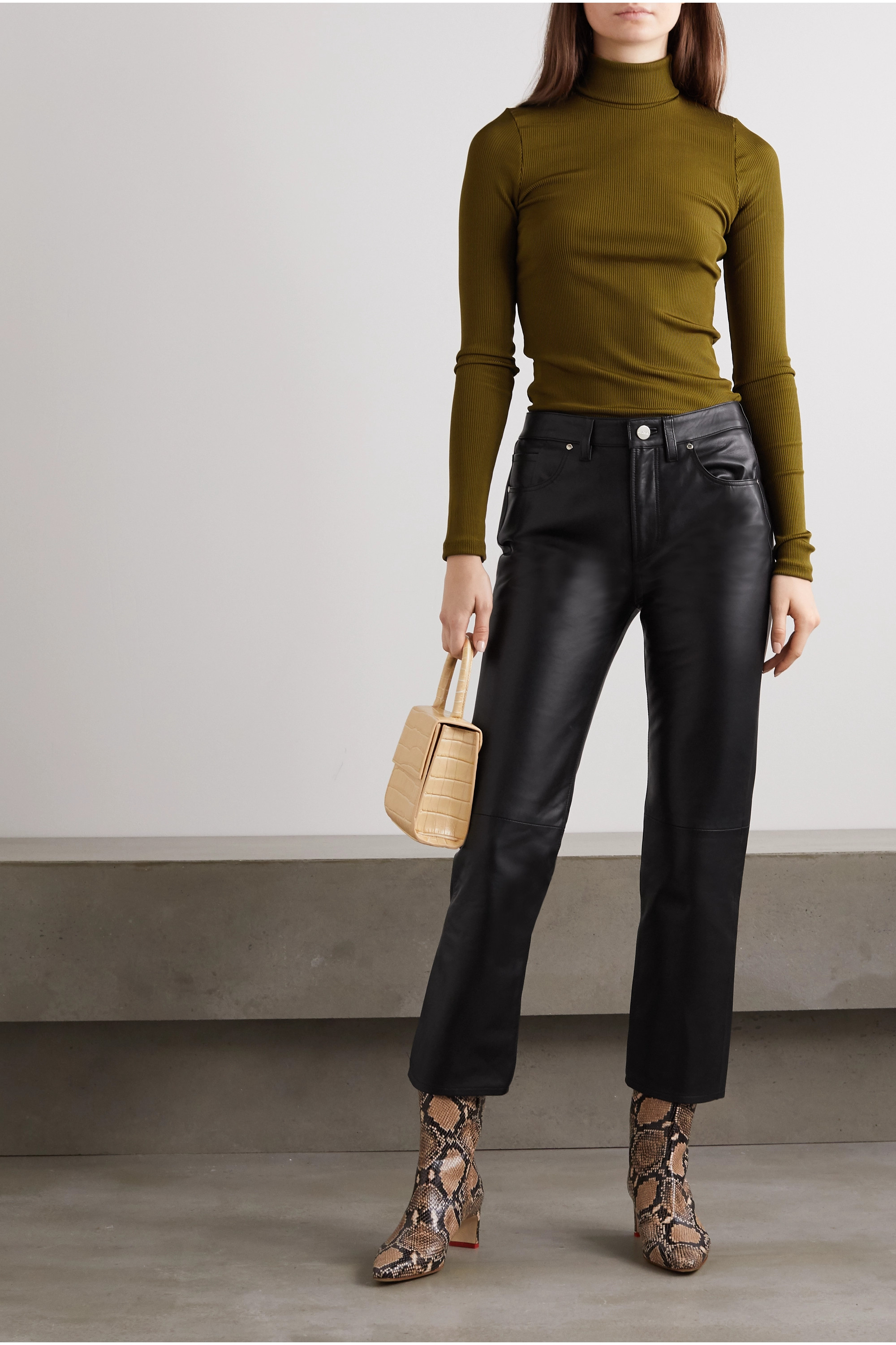 GOLDSIGN The Relaxed Straight cropped leather pants