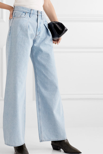 Pleated High Rise Wide Leg Jeans by Goldsign