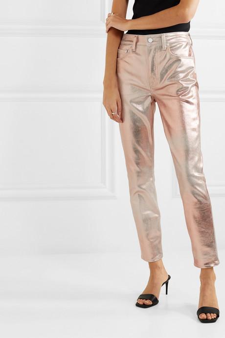 Karolina metallic coated high-rise slim-leg jeans