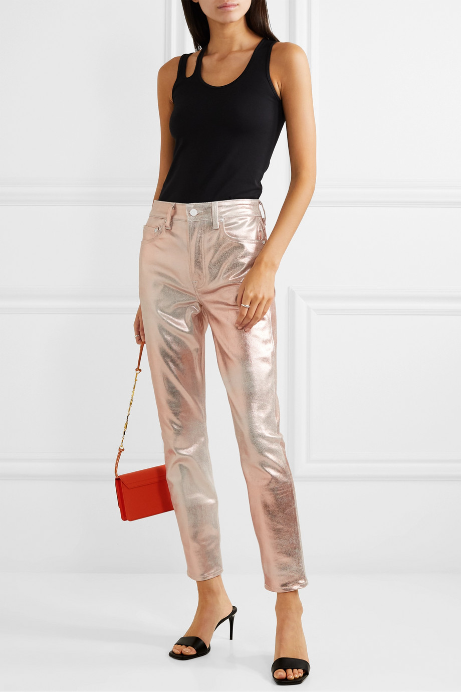 GRLFRND Karolina metallic coated high-rise slim-leg jeans