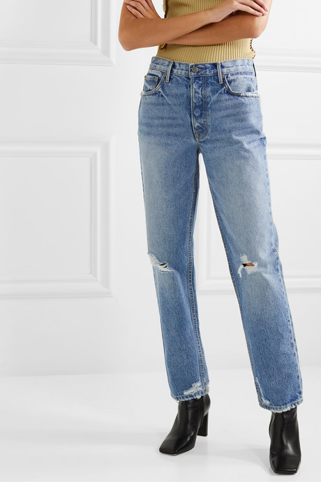 Helena distressed mid-rise straight-leg jeans