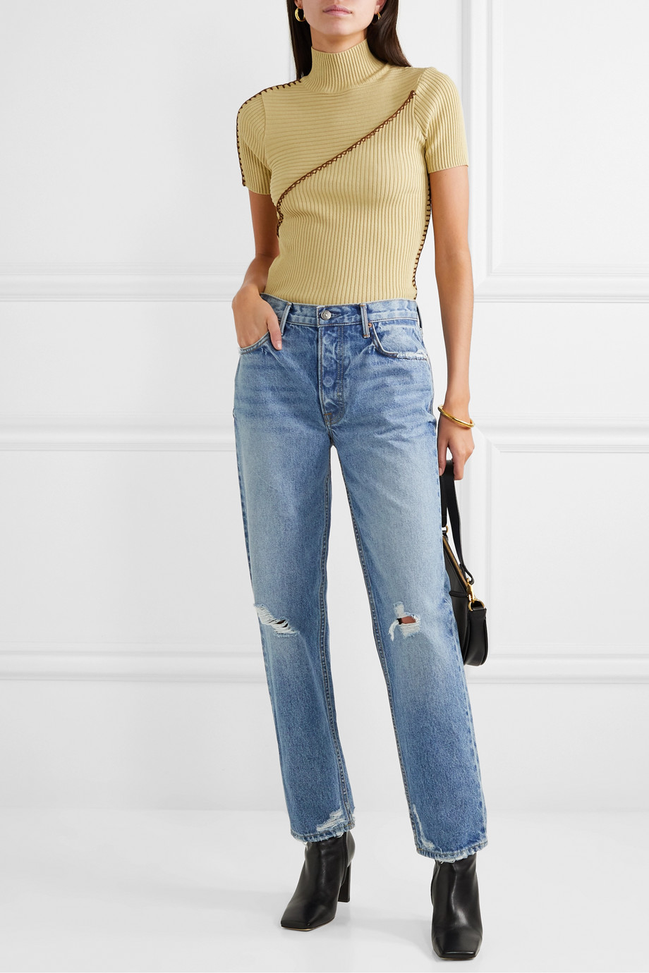 GRLFRND Helena distressed mid-rise straight-leg jeans