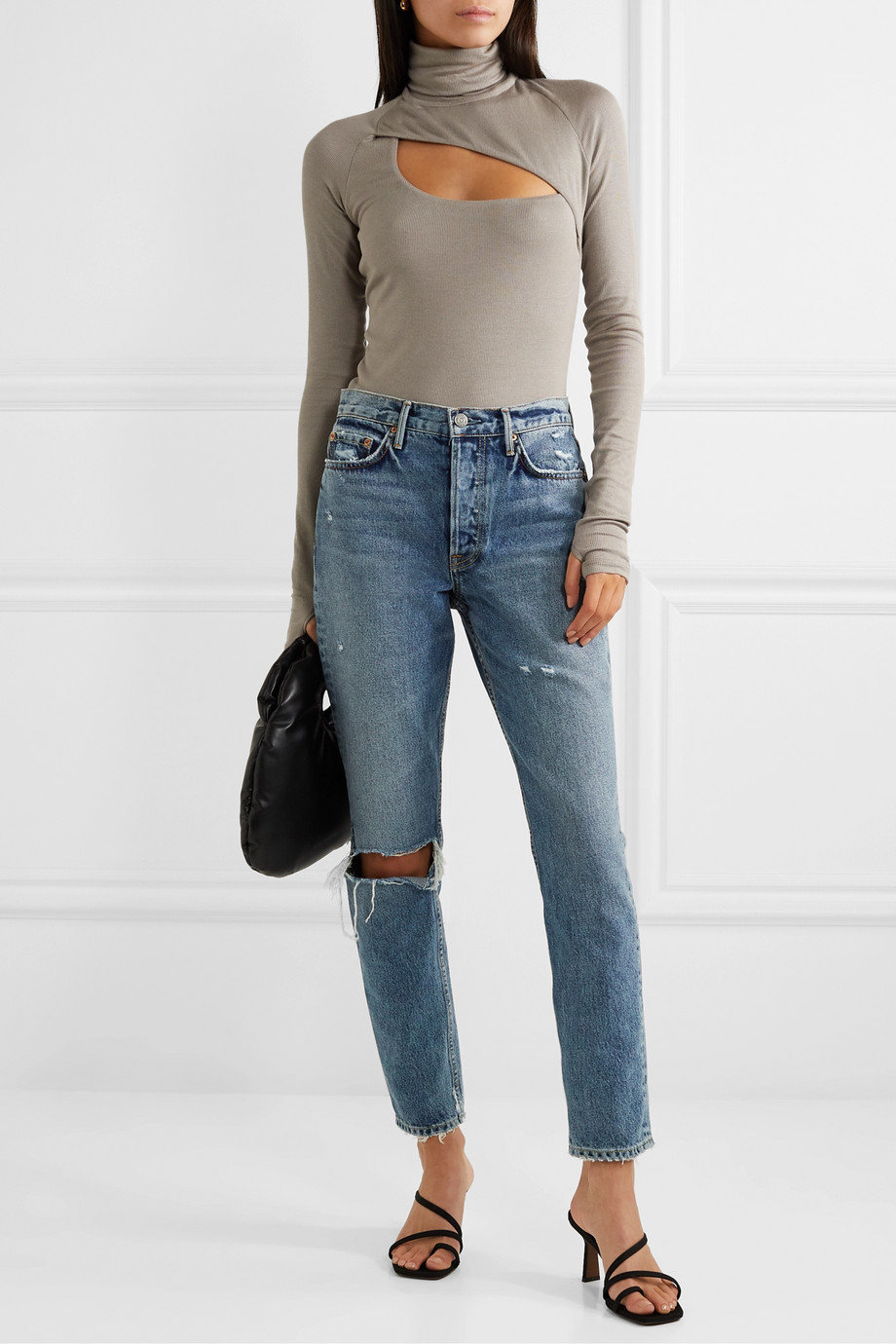 GRLFRND Karolina distressed high-rise slim-leg jeans