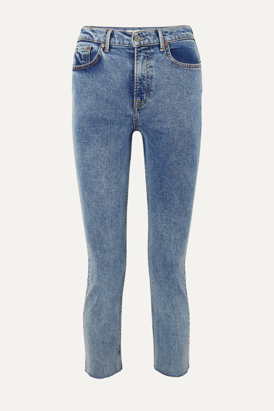 GRLFRND Reed cropped frayed acid-wash high-rise slim-leg jeans