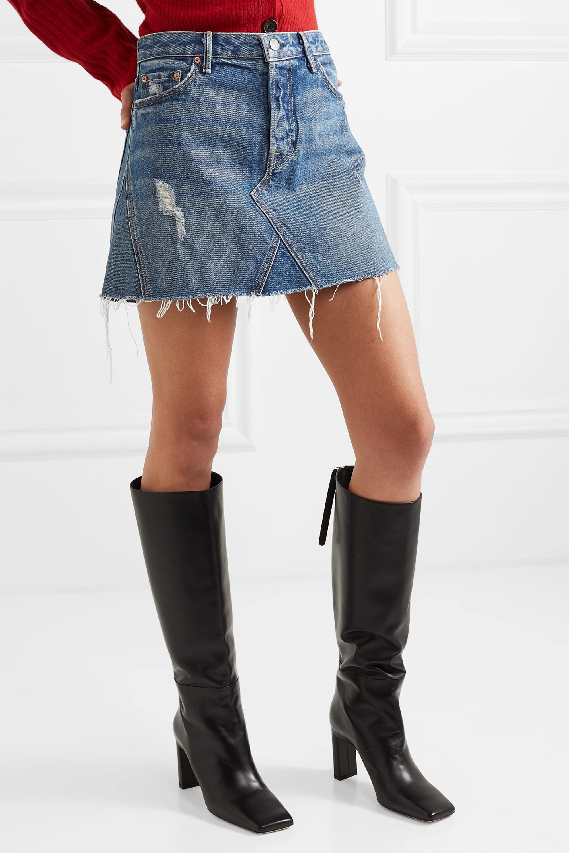 GRLFRND Eva distressed denim mini skirt