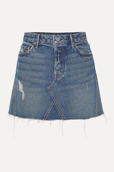 Grlfrnd Skirts Eva distressed denim mini skirt