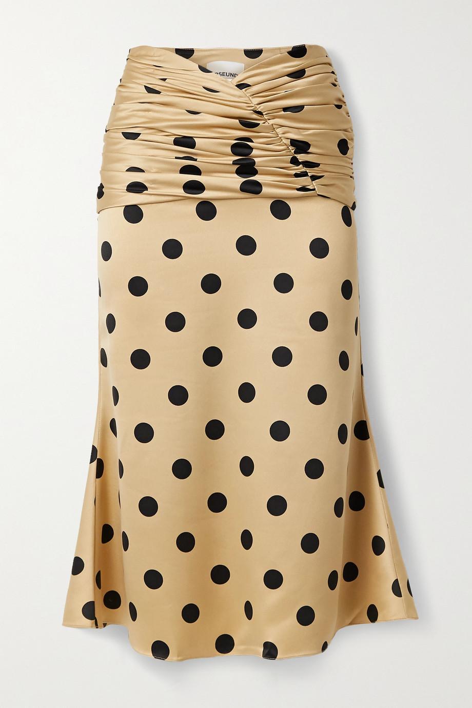Orseund Iris Romantique ruched polka-dot satin skirt