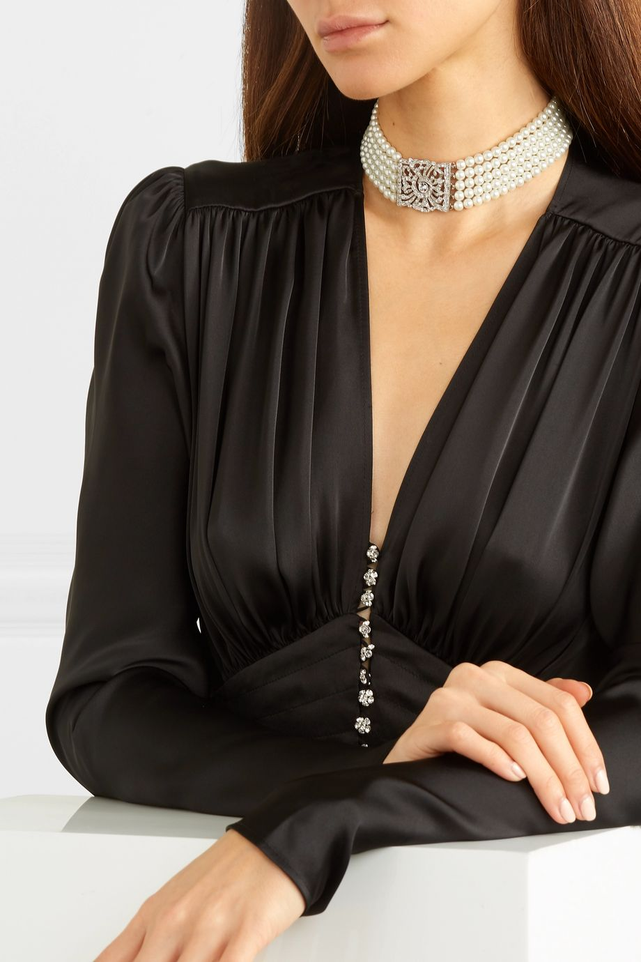 Kenneth Jay Lane Silver-tone, faux pearl and crystal choker