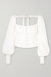 Orseund Iris Victorian button-embellished Pima cotton-sateen blouse