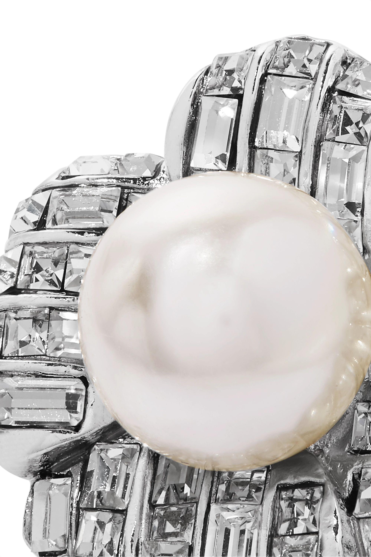 Kenneth Jay Lane Silberfarbene Ohrclips mit Kristallen und Kunstperlen