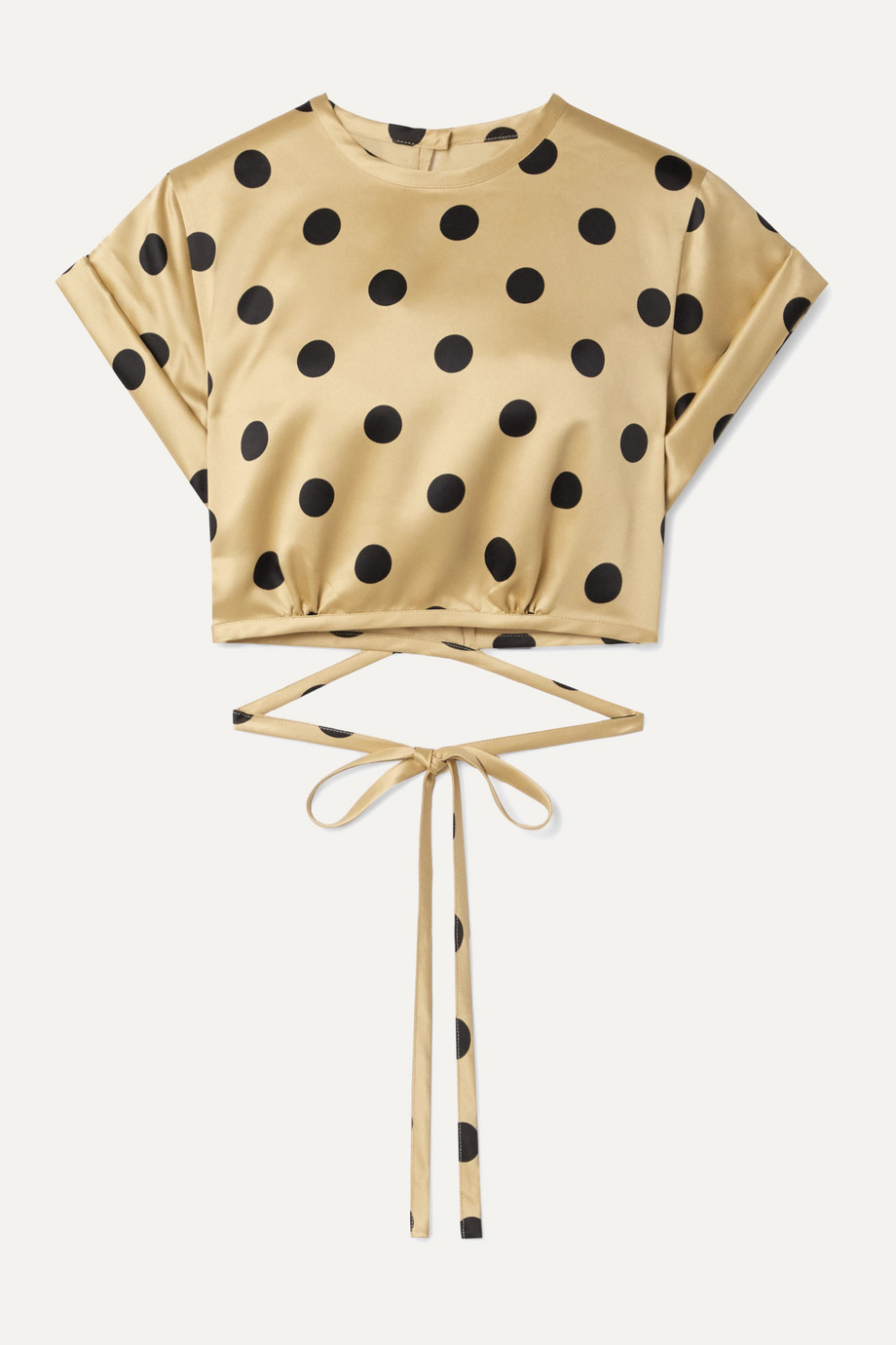Orseund Iris Le Club cropped polka-dot satin top