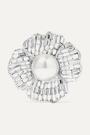 Kenneth Jay Lane Silver-tone, crystal and faux pearl brooch