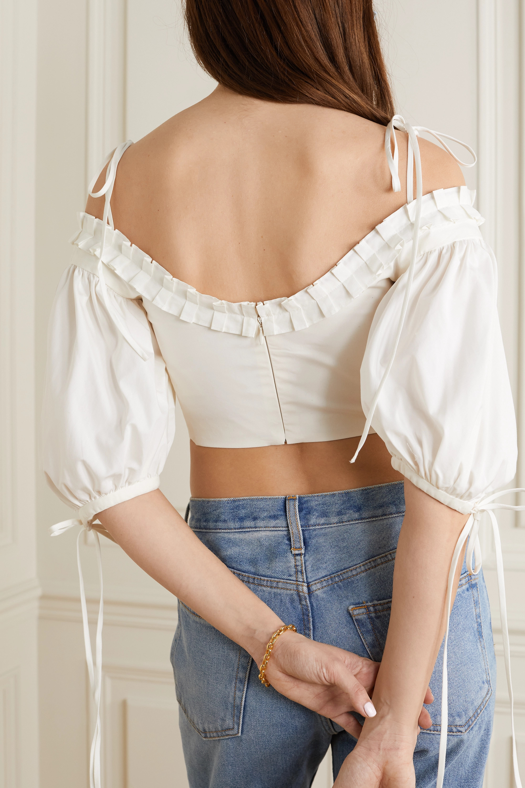 Orseund Iris Lady cropped cold-shoulder cotton-poplin top