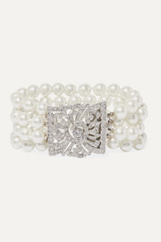 Silver-tone, faux pearl and crystal bracelet