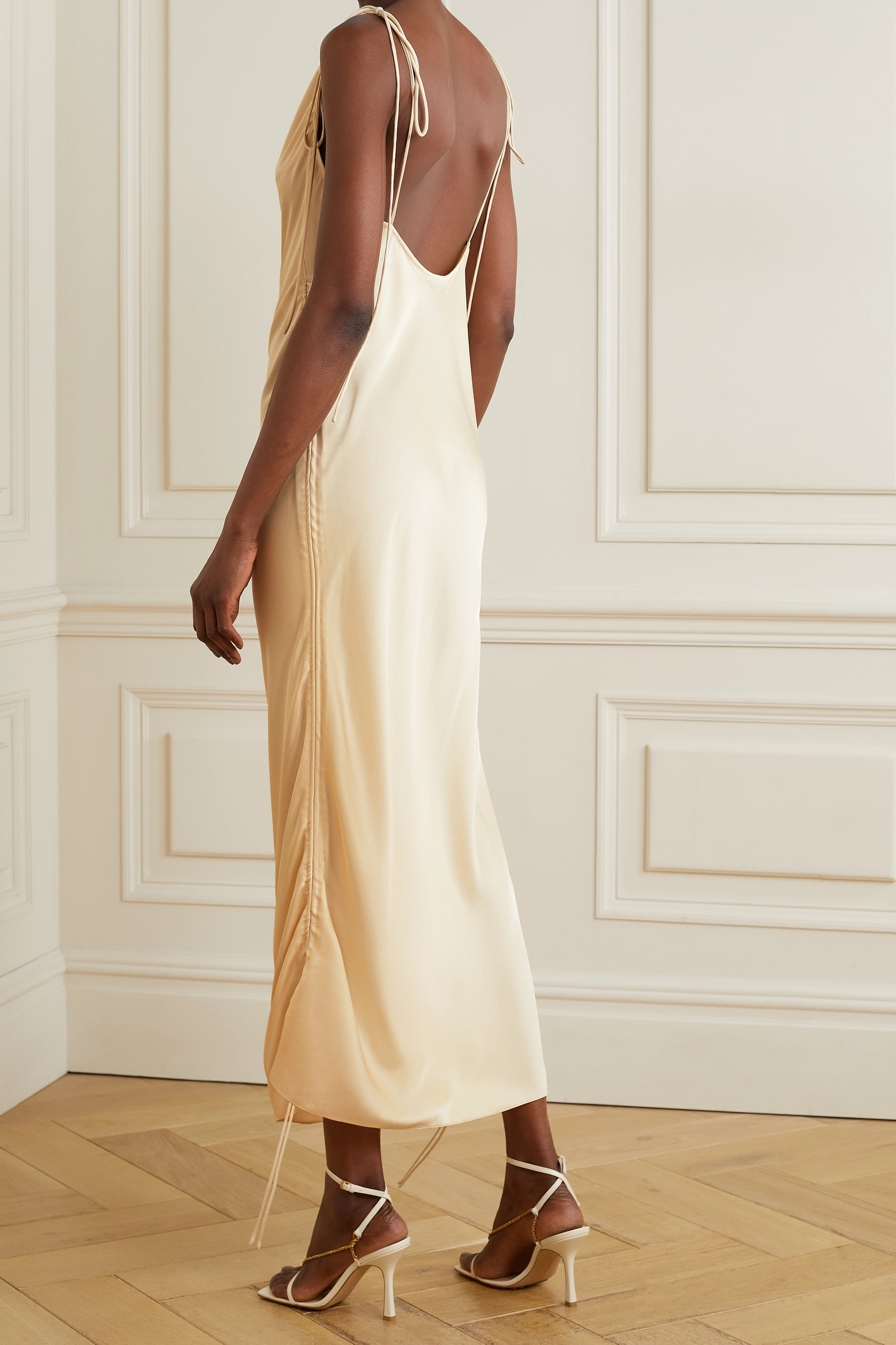 Orseund Iris Ruched satin dress