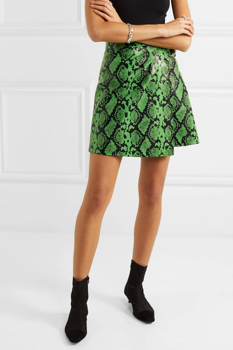 + Pernille Teisbaek Kaya snake-effect faux leather wrap mini skirt