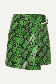 Stand Studio + Pernille Teisbaek Kaya snake-effect faux leather wrap mini skirt