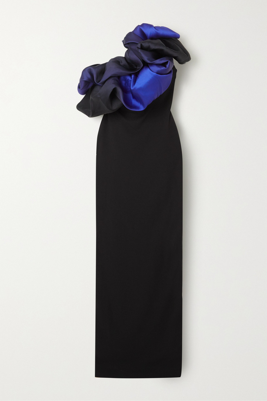 Solace London Cairns one-shoulder ruffled ombré satin and stretch-crepe gown