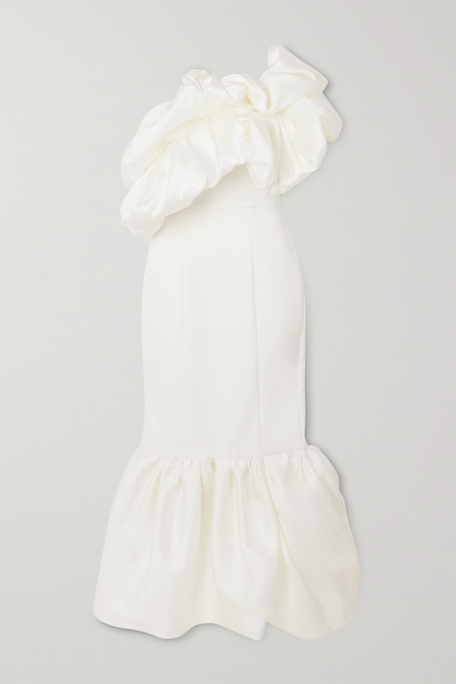 Solace London Tove one-shoulder ruffled satin and crepe gown