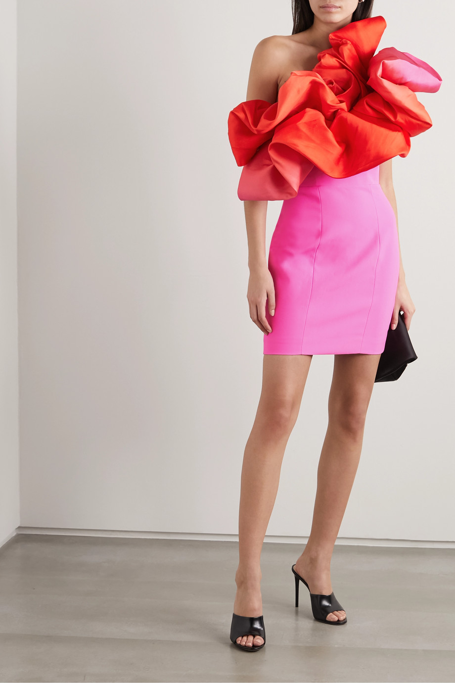 Solace London Finley one-shoulder ruffled crepe mini dress