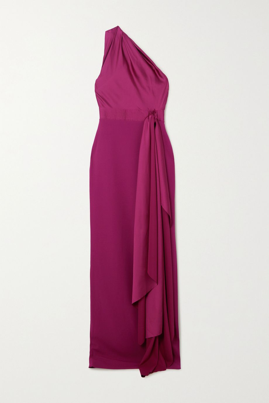 Solace London Mara one-shoulder draped satin and crepe gown