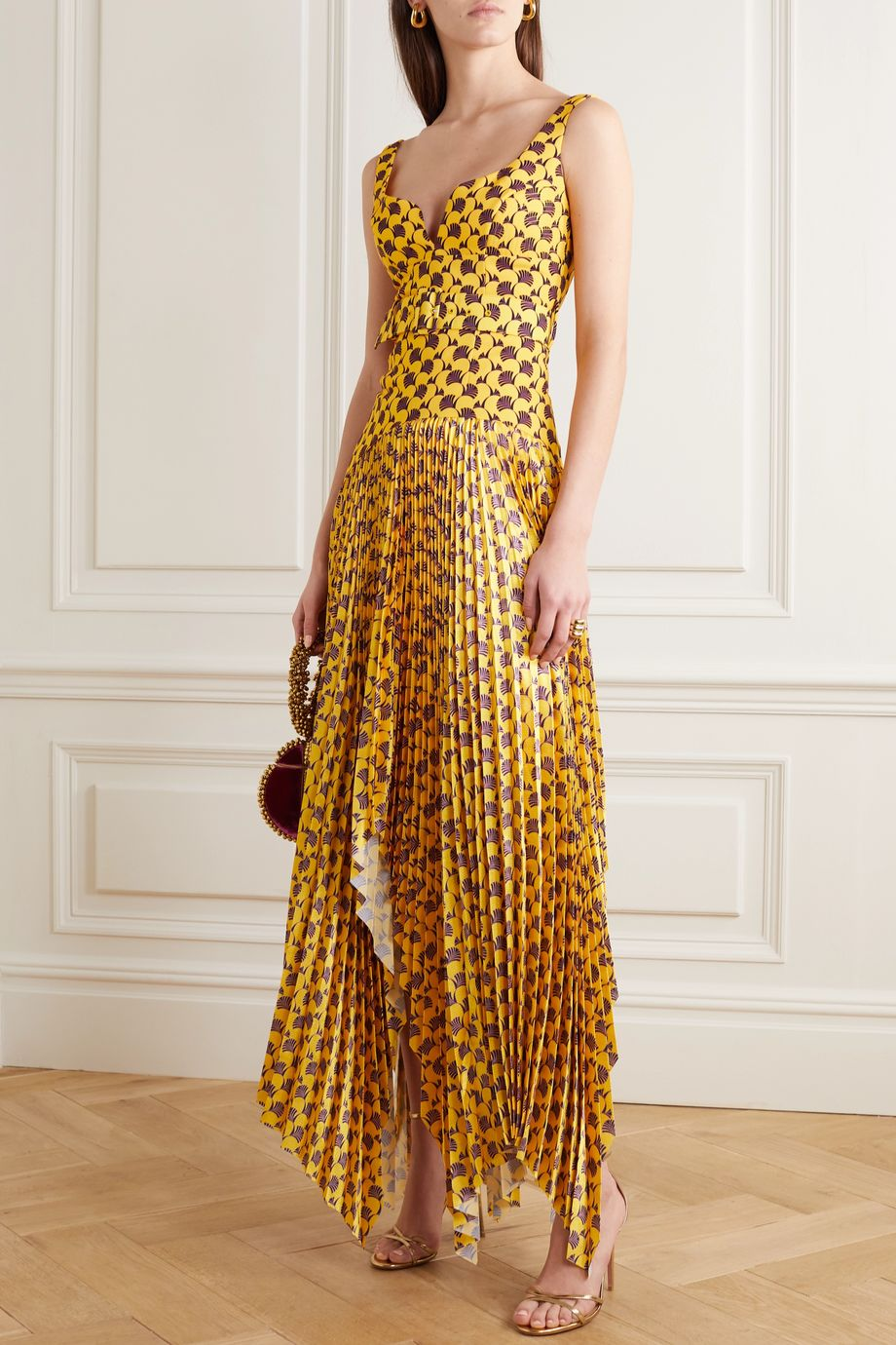 Solace London Junee printed crepe and pleated hammered-satin gown