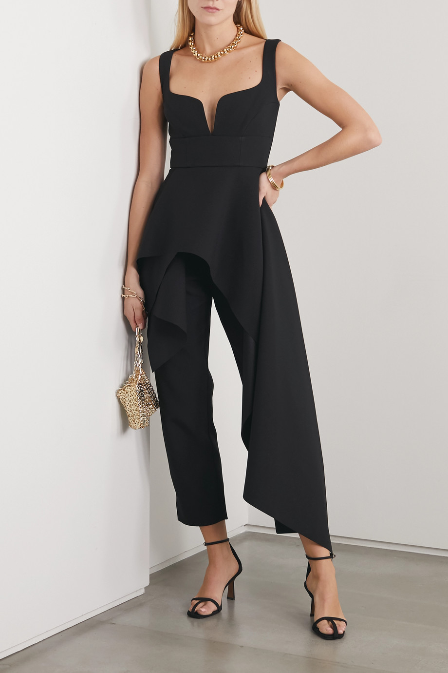 Solace London Rena asymmetric crepe jumpsuit