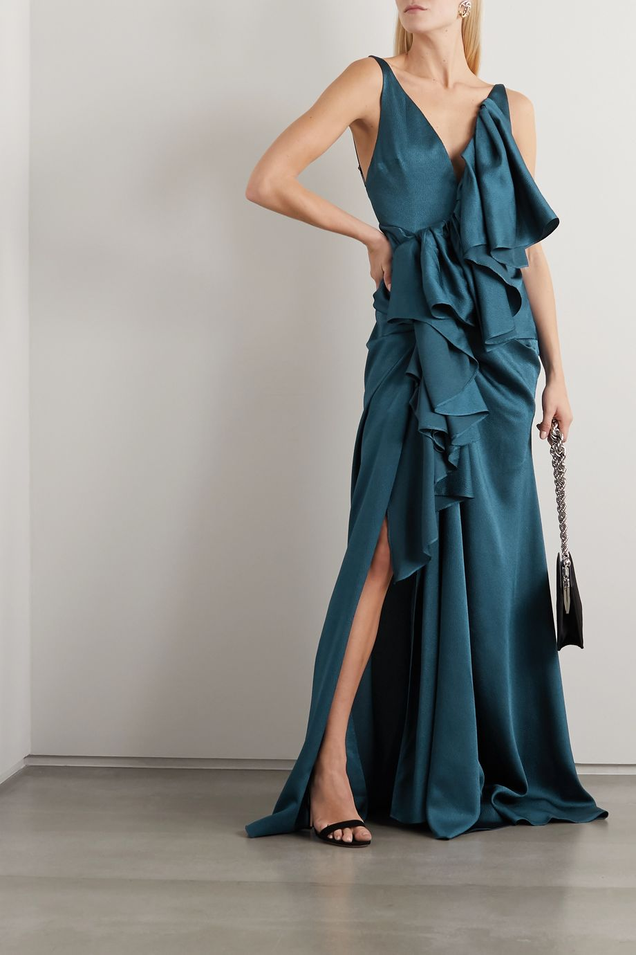 Solace London Lorne ruffled cloqué gown