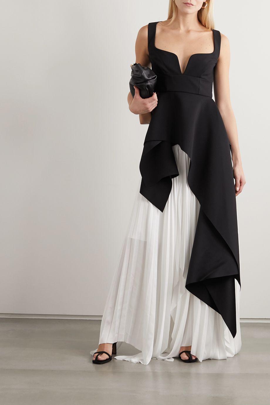 Solace London Leila asymmetric paneled crepe and pleated crepe de chine maxi skirt