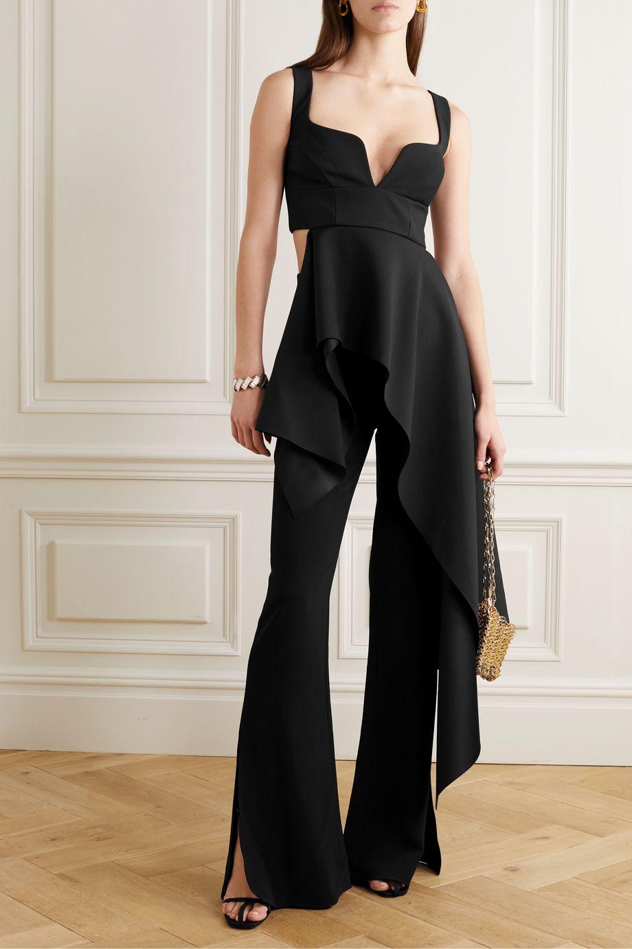 Solace London Sienna asymmetric draped crepe top
