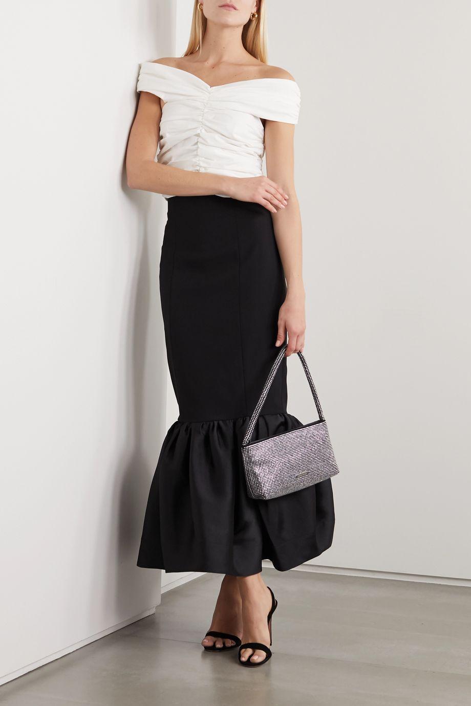 Solace London Eska ruffled crepe and satin maxi skirt