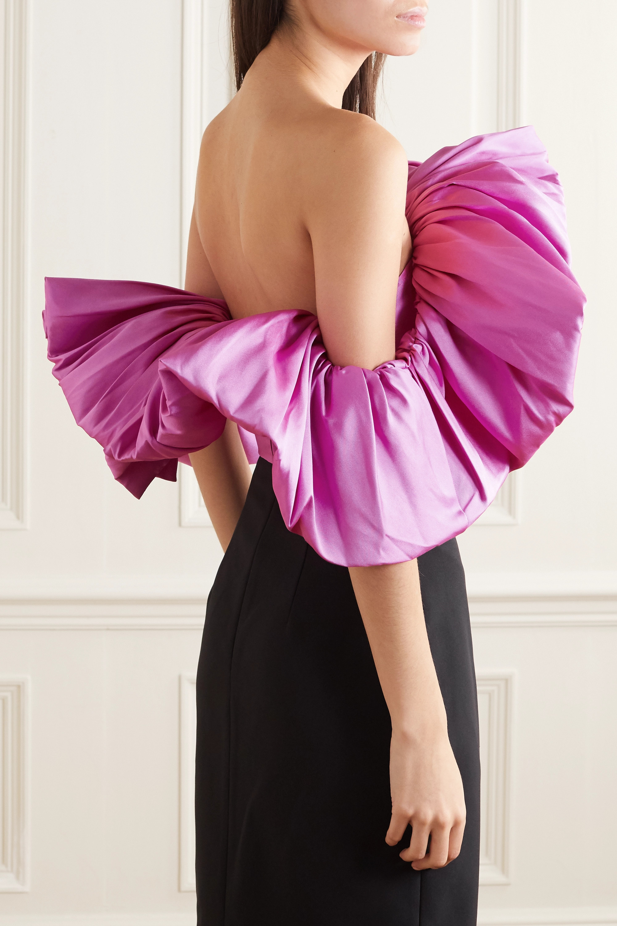 Solace London Margot ruffled off-the-shoulder satin top