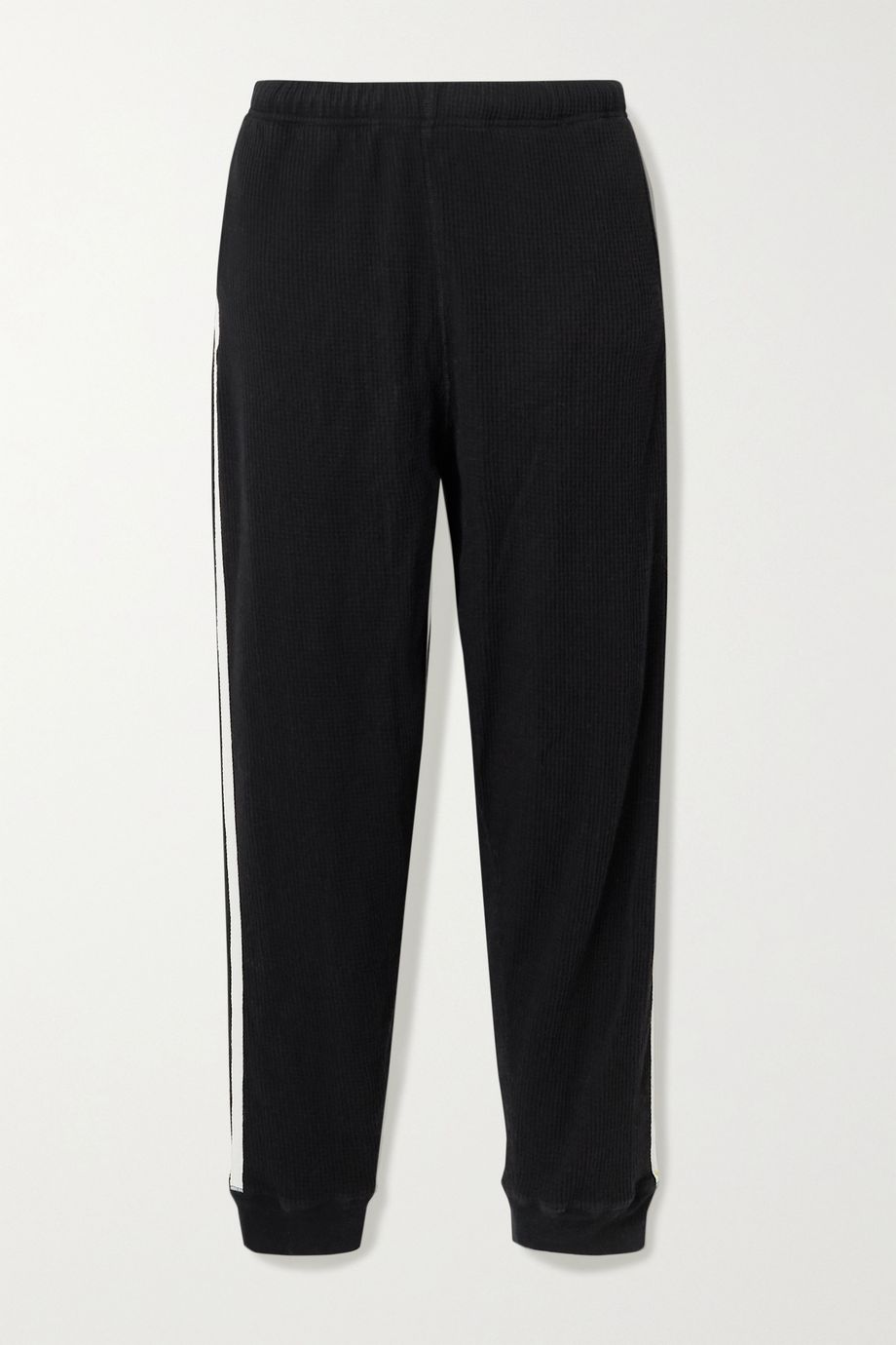 Bassike + NET SUSTAIN canvas-trimmed waffle-knit cotton track pants