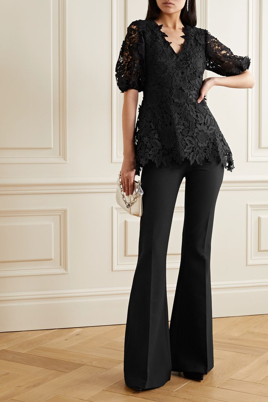 Lela Rose Embroidered guipure lace blouse