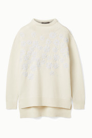 Beaded embroidered wool and cashmere-blend sweater