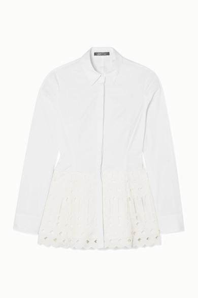Lela Rose Tops Broderie anglaise-trimmed stretch-cotton poplin blouse