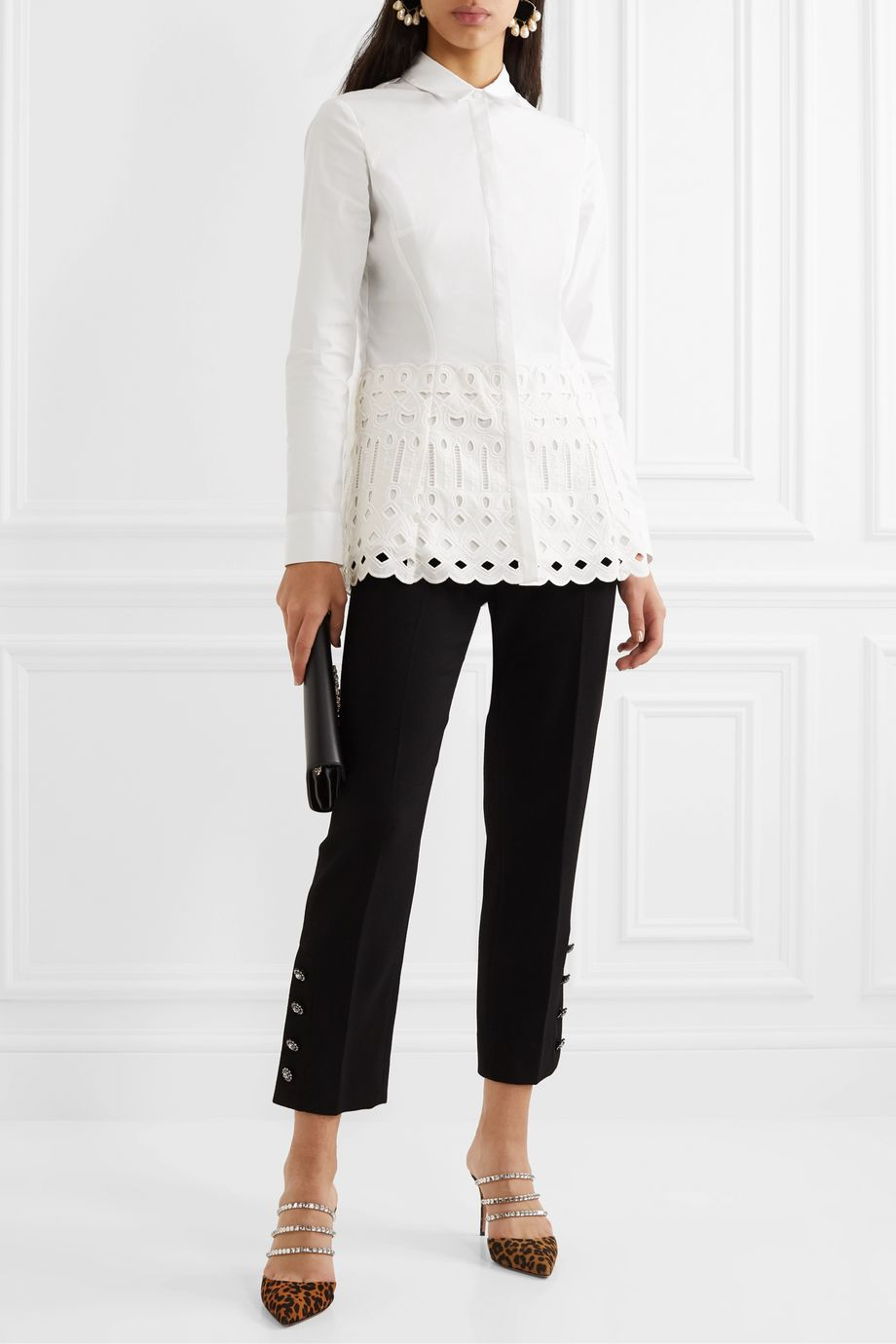 Lela Rose Broderie anglaise-trimmed stretch-cotton poplin blouse