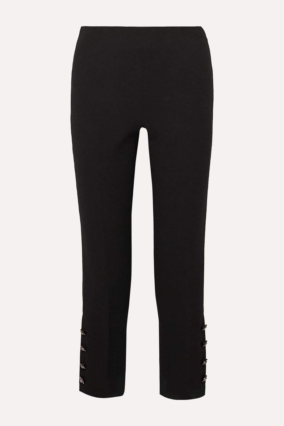 Lela Rose Cropped crystal-embellished wool-blend crepe straight-leg pants