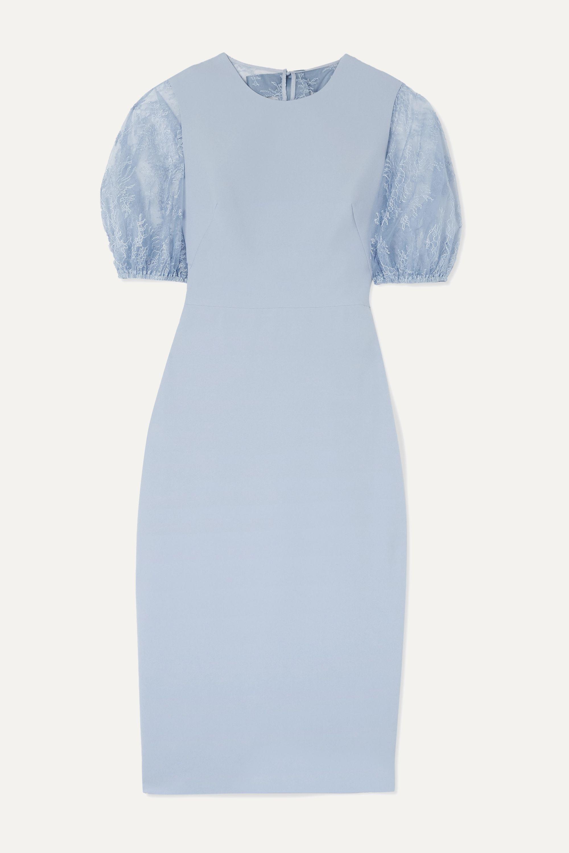 Kleid aus Cady und Chantilly-Spitze mit Schleife