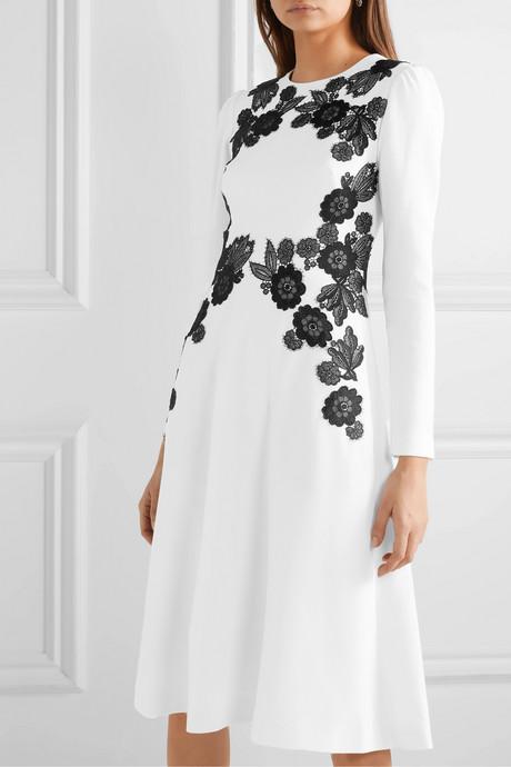 Lace-trimmed wool-blend crepe dress