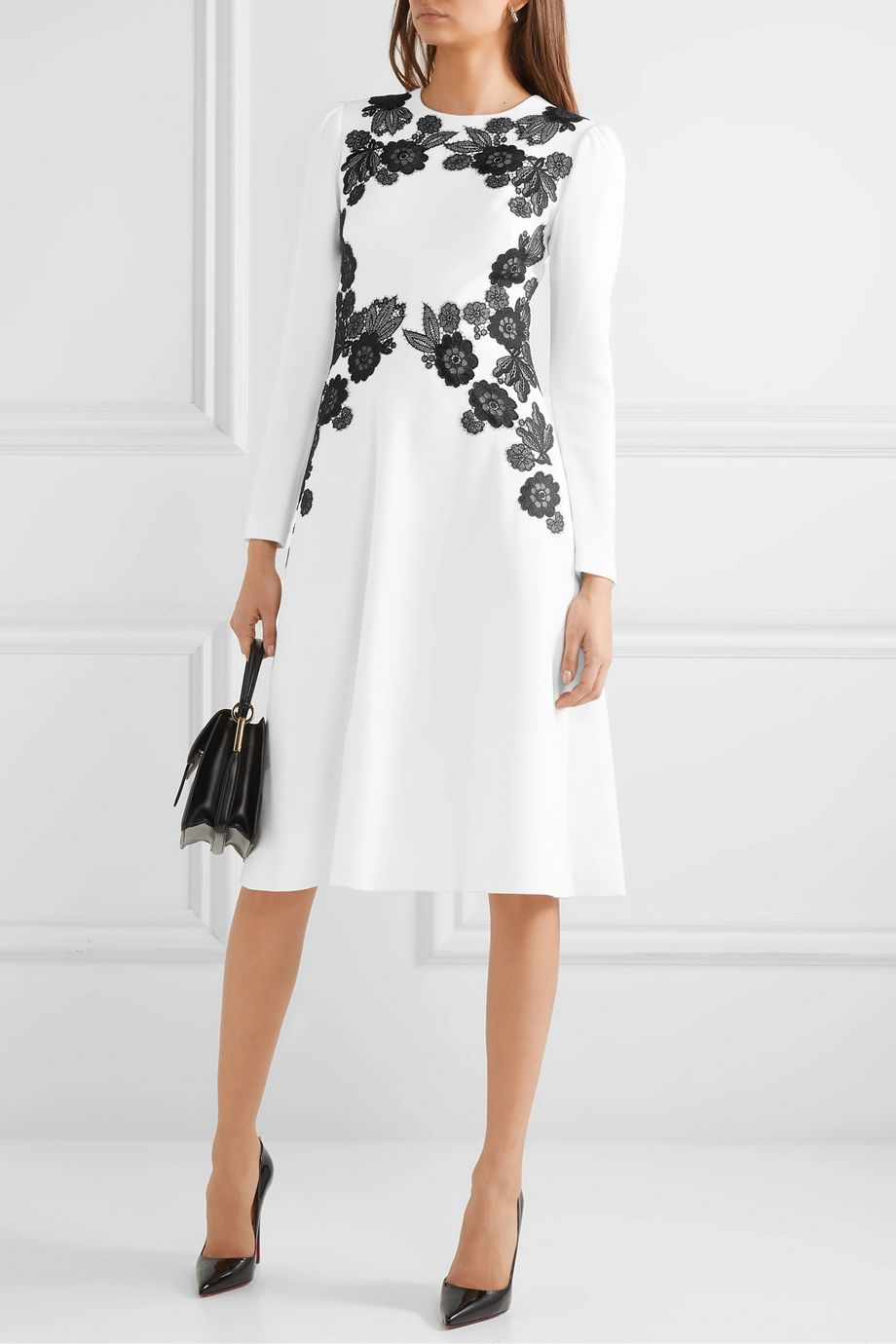 Lela Rose Lace-trimmed wool-blend crepe dress