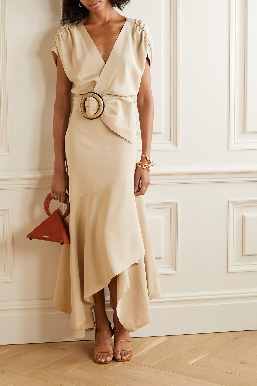Silvia Tcherassi Protea belted wrap-effect silk crepe de chine midi dress