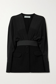 Silvia Tcherassi Charlotte belted silk-blend crepe de chine and cady jacket