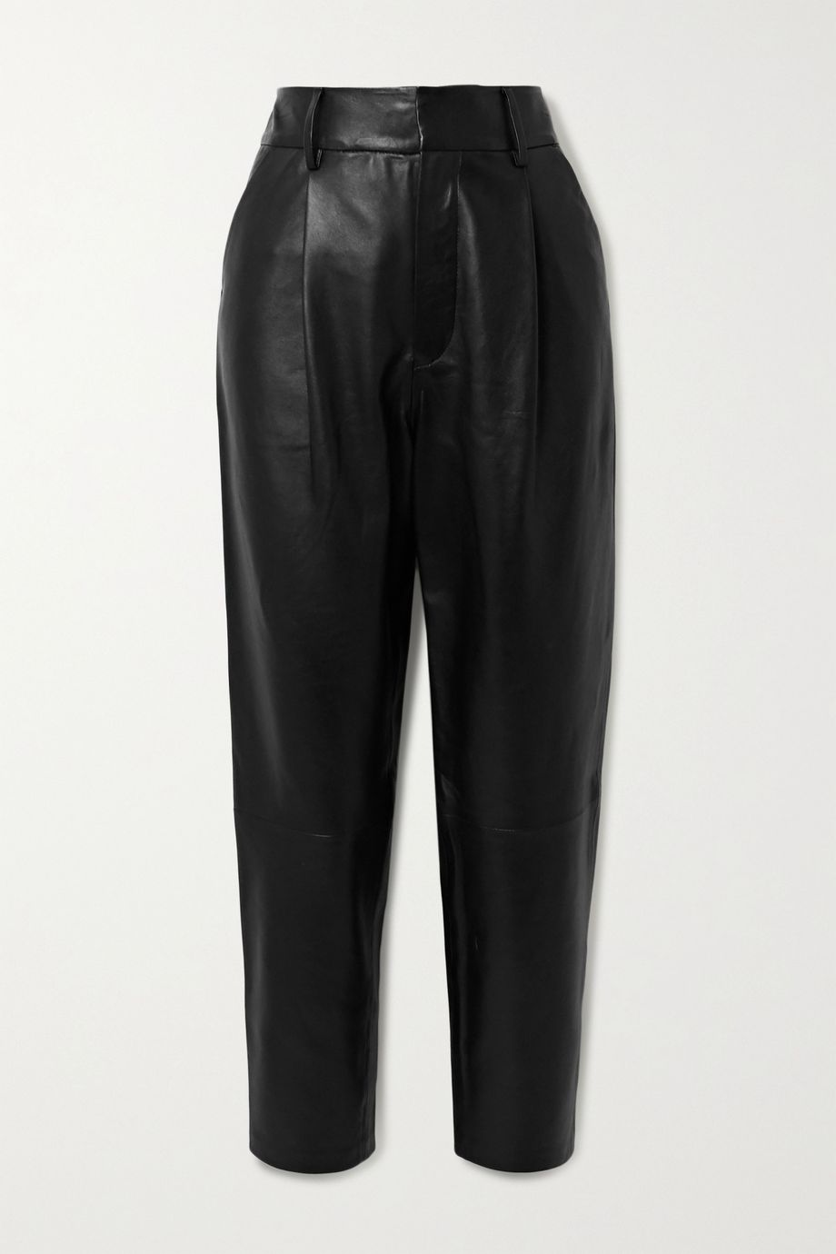 Anine Bing Becky cropped leather straight-leg pants