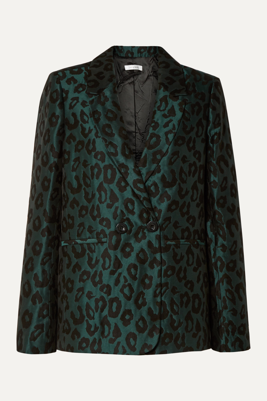 Anine Bing Madeleine double-breasted leopard-jacquard blazer