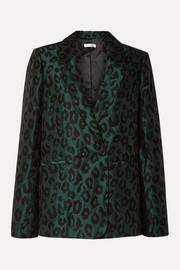 Madeleine double-breasted leopard-jacquard blazer