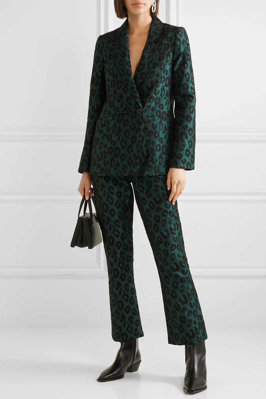 Anine Bing Madeleine 双排扣豹纹提花西装外套