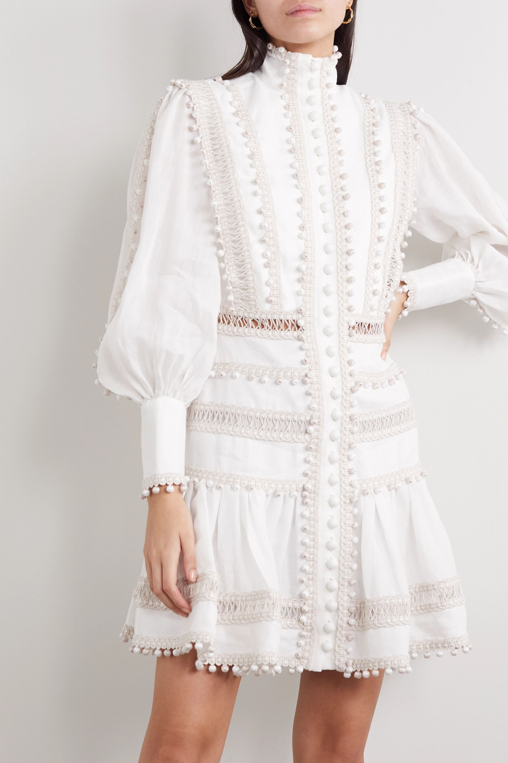 Zimmermann Mini-robe en lin cordonnet Super Eight