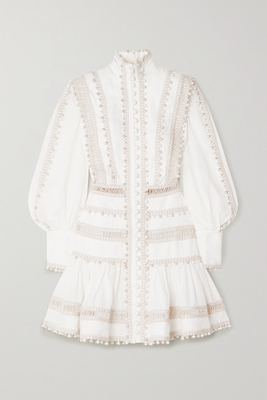 Zimmermann 'super Eight' Corded Bishop Sleeves Ramie Mini Dress In Ivory