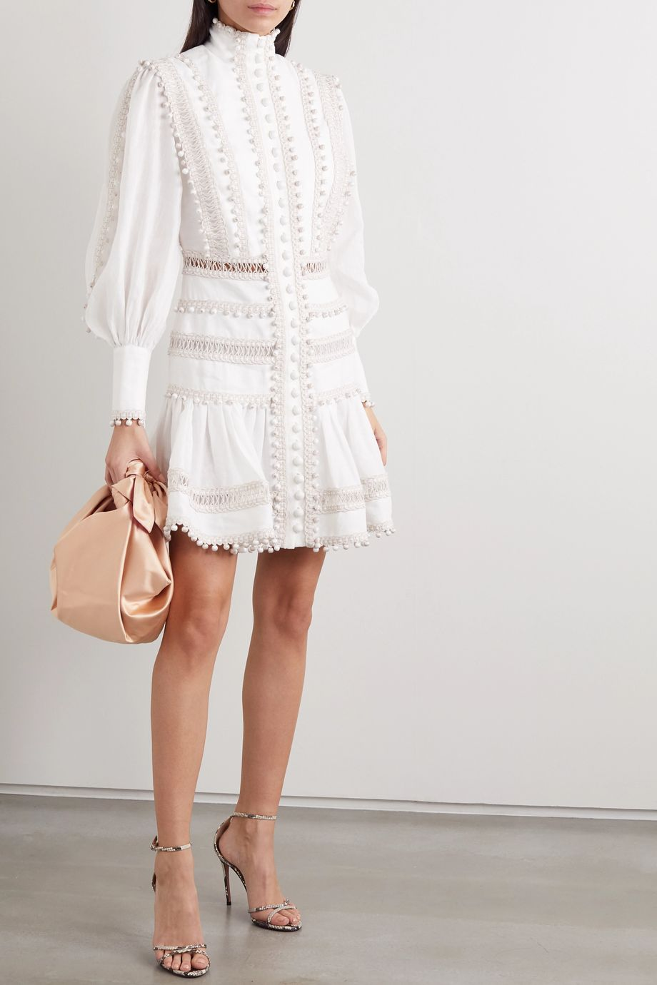 Zimmermann Mini-robe en lin cordonnet Super Eight